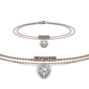 Heart Diamond Bracelet 18K Rose Gold