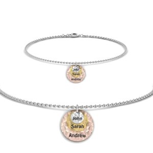 Two Tone Engraved Charm Bracelet
