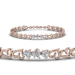 3 Heart Diamond Bracelet