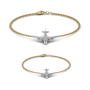 Gold Mother Son Aeroplane Bracelet