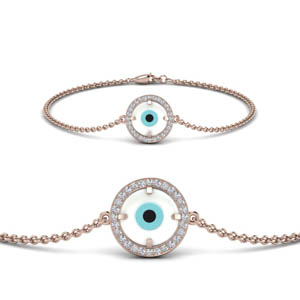 Circle Diamond Evil Eye Bracelet