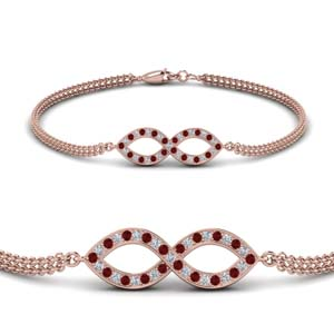 Infinity Diamond Bracelet With Ruby