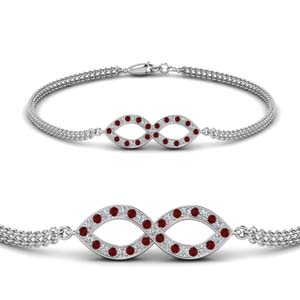 Platinum Twisted Ruby Bracelet
