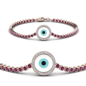 Evil Eye Bezel Set Diamond Bracelet