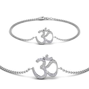 Diamond Om 14K White Gold Bracelet