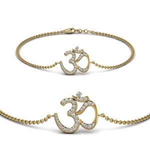 Pave Om Diamond 18K Gold Bracelet