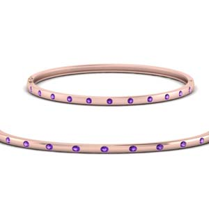 Purple Topaz Thin Bangle Bracelet