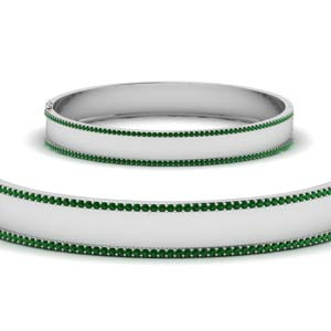 Bangle Bracelet With Emerald