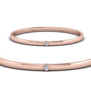 Rose Gold Bezel Diamond Bangle Bracelet