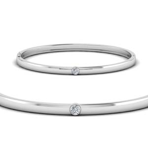 14K White Gold Bezel Diamond Bracelet