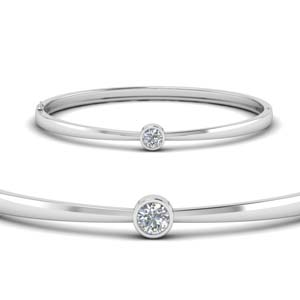 18K White Gold Solitaire Diamond Bracelet