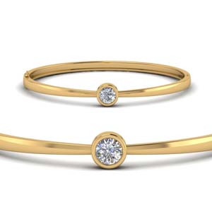 Bezel Set Solitaire Gold Bracelet