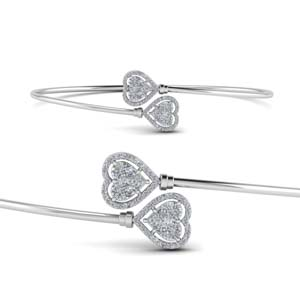 Heart Halo Diamond Open Bracelet