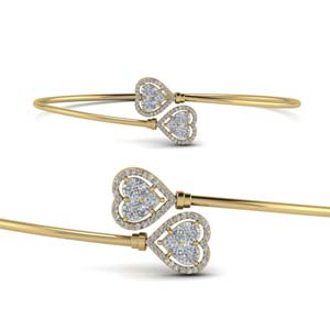 Diamond Heart Halo Bangle Bracelet