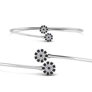 Black Diamond Flower Open Bracelet
