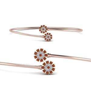 Rose Gold Flower Open Bracelet