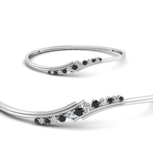 Black Diamond Thin Bracelet Bangle