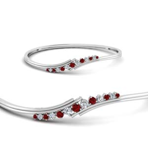 Twist Ruby Thin Bracelet Bangle