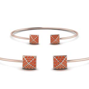 Square Pave Orange Topaz Bracelet