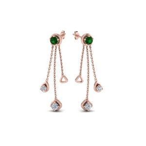 chain drop diamond earring with emerald in 14K rose gold FDCMJ28251EGEMGRANGLE1 NL RG