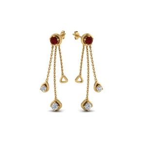 chain drop diamond earring with ruby in 14K yellow gold FDCMJ28251EGRUDRANGLE1 NL YG