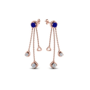 chain drop diamond earring with sapphire in 18K rose gold FDCMJ28251EGSABLANGLE1 NL RG