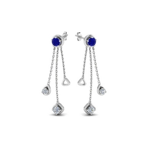 chain drop diamond earring with sapphire in 950 platinum FDCMJ28251EGSABLANGLE1 NL WG