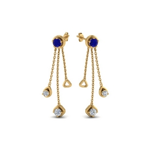 chain drop diamond earring with sapphire in 14K yellow gold FDCMJ28251EGSABLANGLE1 NL YG