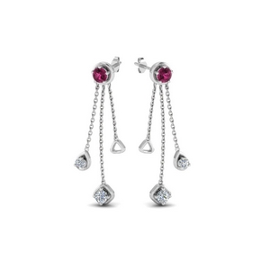 chain drop diamond earring with pink sapphire in 950 platinum FDCMJ28251EGSADRPIANGLE1 NL WG