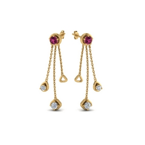 chain drop diamond earring with pink sapphire in 14K yellow gold FDCMJ28251EGSADRPIANGLE1 NL YG