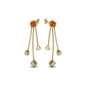 chain drop diamond earring with orange sapphire in 18K yellow gold FDCMJ28251EGSAORANGLE1 NL YG