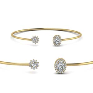 Open Cuff Floral Diamond Bracelet