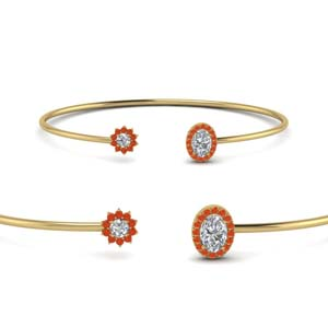 Flower Open Cuff Orange Topaz Bracelet