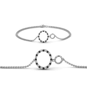 Open Circle Black Diamond Bracelet