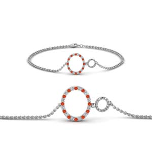 Circle Orange Topaz Bracelet