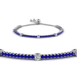 bolo classic design diamond bracelet with sapphire in 14K white gold FDCT 227 1732SBGSABLANGLE2 NL WG