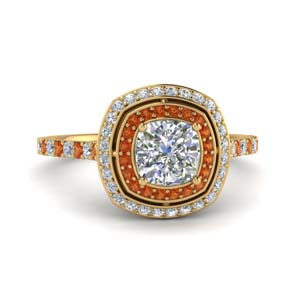 Engagement Ring With Cushion Halo