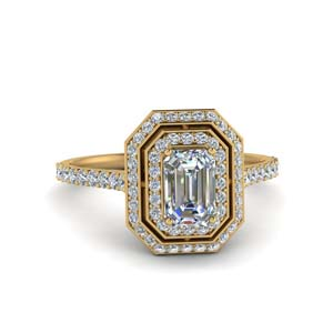 Gold Emerald Cut Halo Rings
