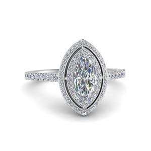 Marquise Shaped Moissanite Halo Ring