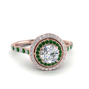 Pave Double Halo Emerald Ring