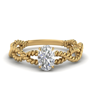 Twisted Rope Oval Diamond Ring