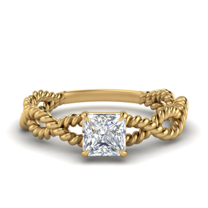 Infinity Rope Solitaire Princess Cut Ring