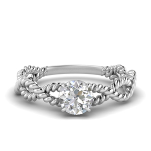 Rope Design Round Solitaire Ring
