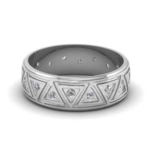 Brushed Finish Diamond Wedding Band