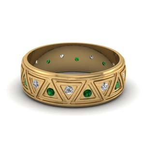 Brushed Finish Emerald Wedding Band