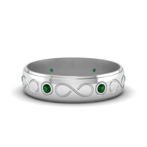 Infinity Emerald Mens Wedding Ring