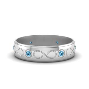 Infinity Engraved Men Band With Blue Topaz