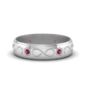 Pink Sapphire Wedding Band For Men