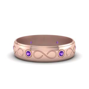 Purple Topaz Anniversary Band For Mens