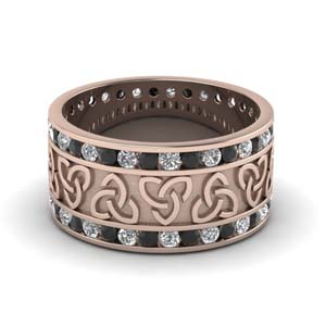 Black Diamond Celtic Wedding Band